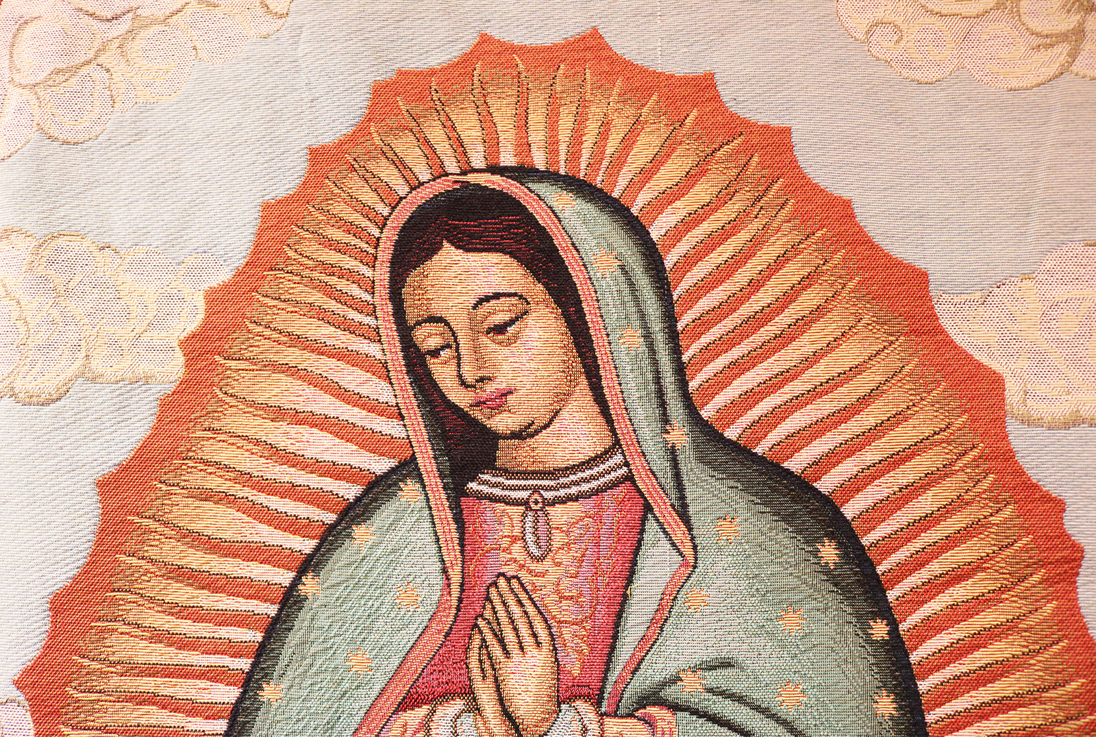 A tapestry of Our Lady Of Guadalupe on the wall of an education room at Sacred Heart Catholic Church in Springfield MO