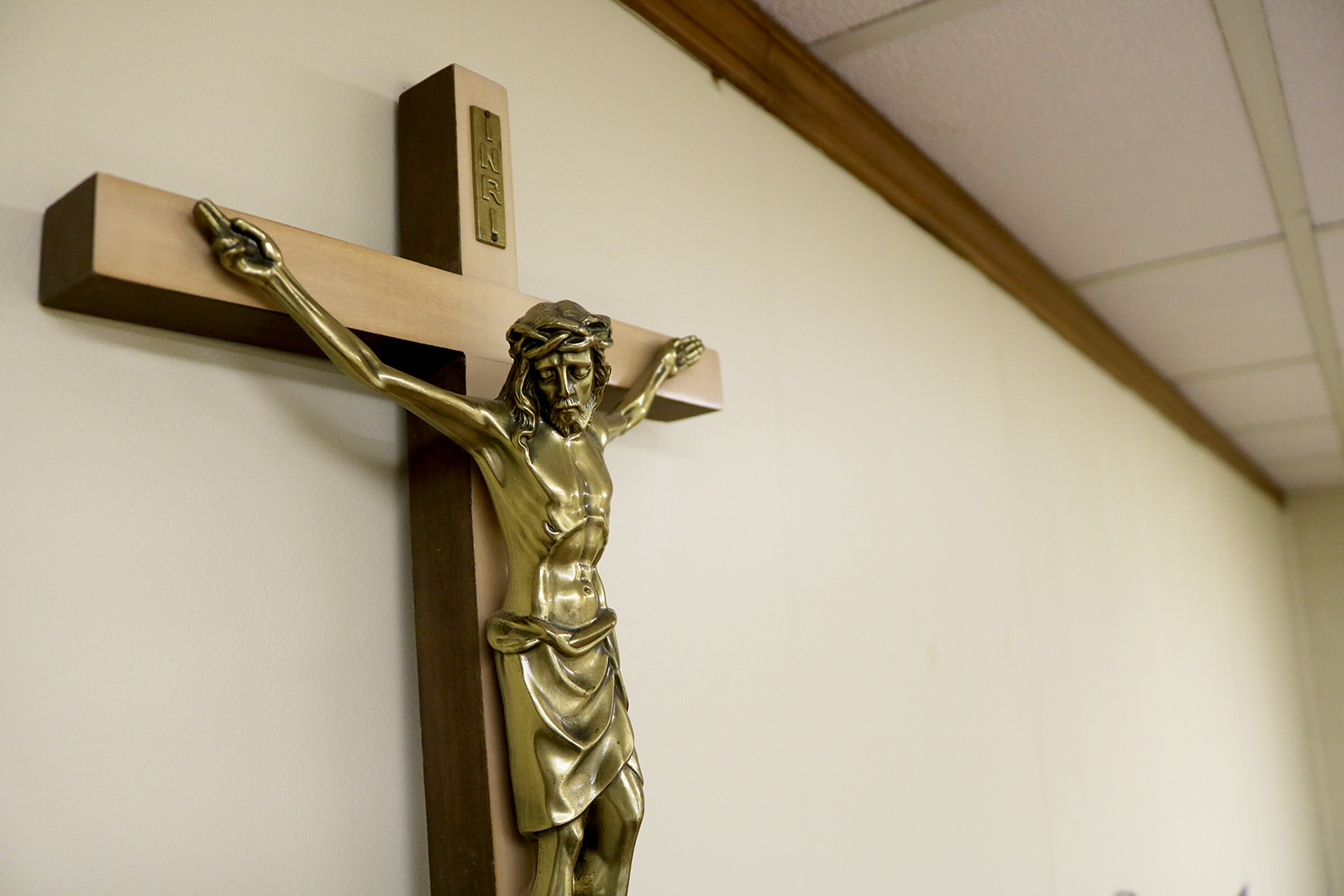Crucifix on the wall of a PSR room at Sacred Heart Catholic Church in Springfield MO