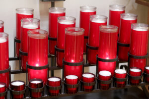Red prayer candles in Sacred Heart Catholic Church in Springfield MO