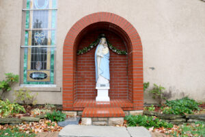 Statue of Our Lady of Wisdom outside of Sacred Heart Catholic Church in Springfield MO